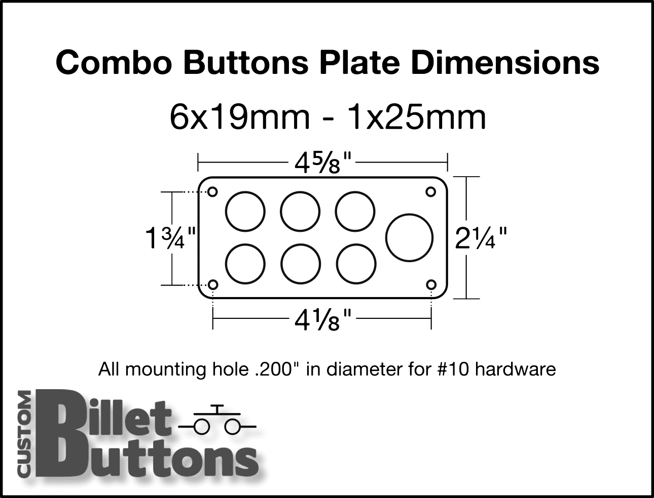 Combo Panel For 6 X 19mm  U0026 1 X 25mm Billet Buttons