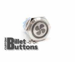 FAN SYMBOL 19mm Laser Etched Custom Billet Buttons
