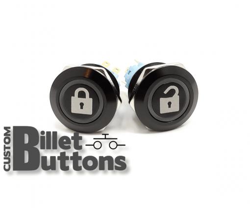 DOOR LOCK UNLOCK 22mm Custom Billet Buttons