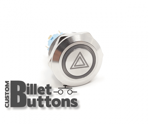 22mm Hazard Symbol Laser Etched Billet Buttons