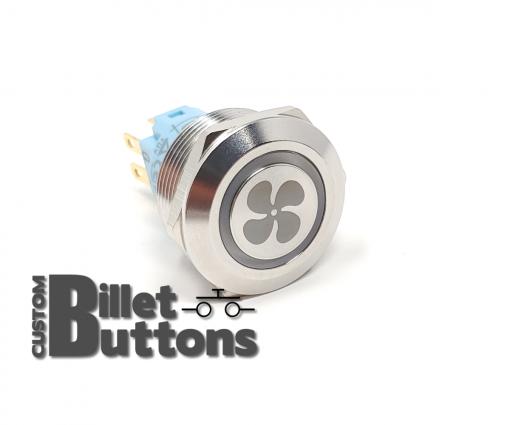 FAN LOGO 22mm Laser Etched Custom Billet Buttons