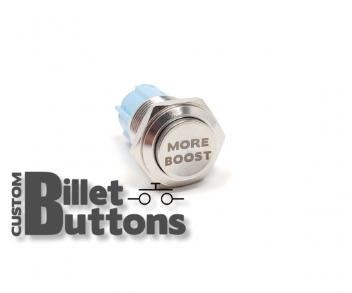 MORE BOOST 16mm Laser Etched Custom Billet Buttons