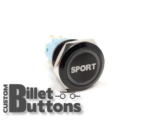 19mm SPORT Laser Etched Billet Buttons