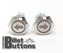Turn Arrow 19mm Laser Etched Billet Buttons