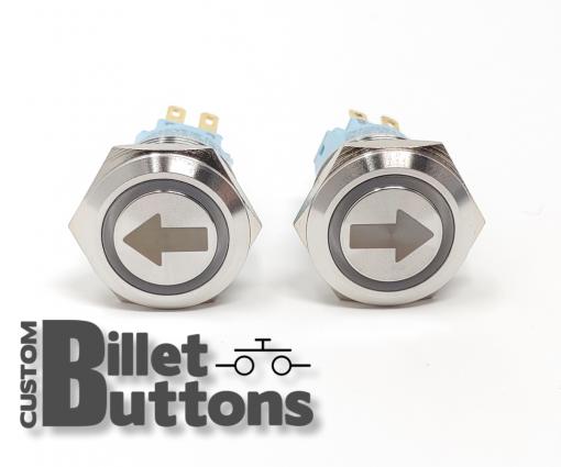 Turn Arrow 19mm Laser Etched Billet Buttons