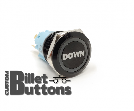DOWN 19mm Laser Etched Billet Buttons