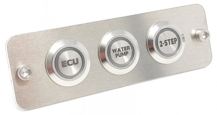 Custom Billet Buttons Brushed Aluminum Mounting Plate