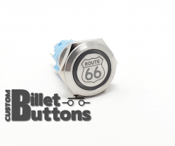 19mm ROUTE 66 LOGO Laser Etched Custom Billet Buttons