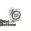 19mm HEAD LIGHTS Laser Etched Custom Billet Buttons