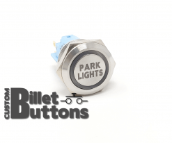19mm PARK LIGHTS Laser Etched Custom Billet Buttons