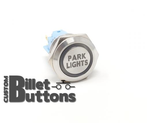 19mm PARK LIGHTS Laser Etched Custom Billet Buttons