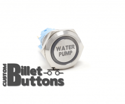 19mm WATER PUMP Laser Etched Custom Billet Buttons