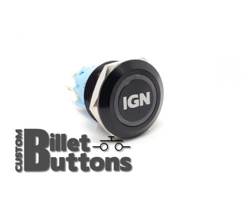 IGN IGNITION 22mm Laser Etched Custom Billet Buttons