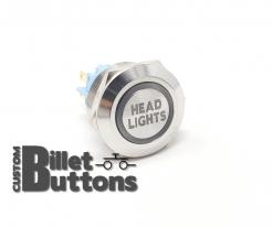 HEAD LIGHTS 22mm Laser Etched Custom Billet Buttons